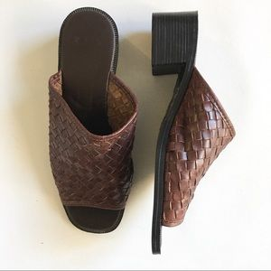 90s woven leather mule stacked block heel brown 8